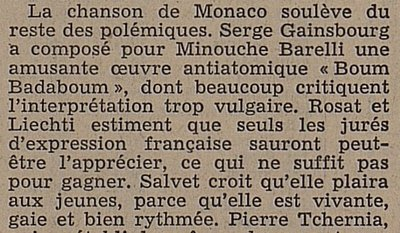 Blurb on Monaco's 1967 entry from Feuille d'avis de Lausanne
