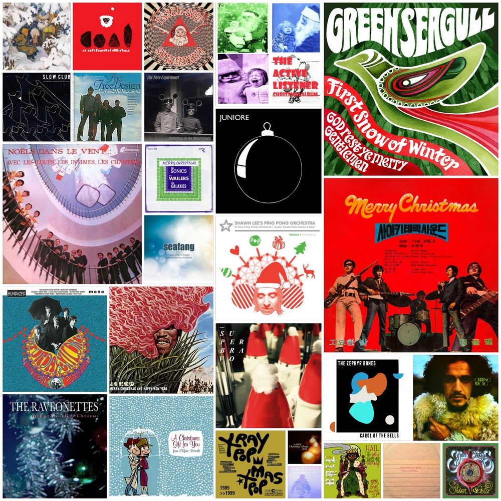 Psychedelic Lights of Christmas album covers collage