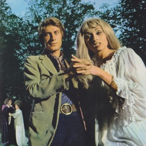 Jacques Dutronc with a model dressed as a vampire